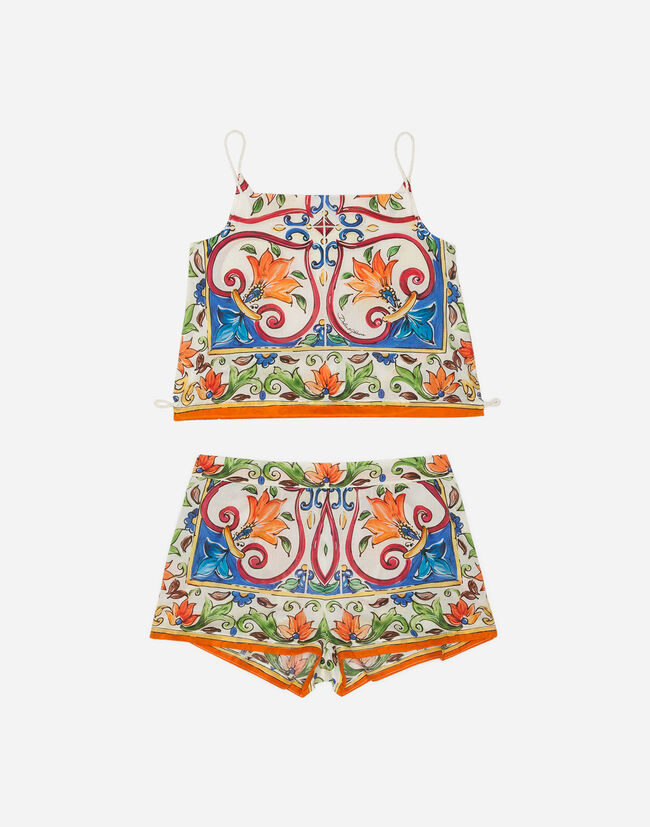 PRINTED COTTON TOP AND SHORTS SET