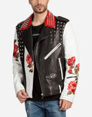 BIKER JACKET IN LAMBSKIN LEATHER WITH STUDS AND PATCH