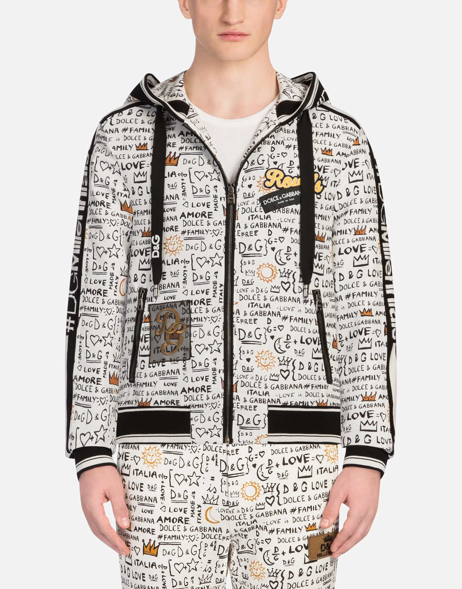 BOMBER JACKET IN PRINTED NYLON WITH PATCHES AND HOOD from DOLCE & GABBANA