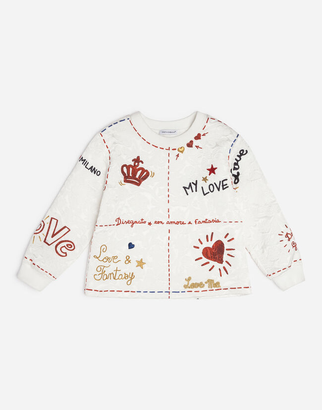 PRINTED BROCADE SWEATSHIRT WITH PATCHES