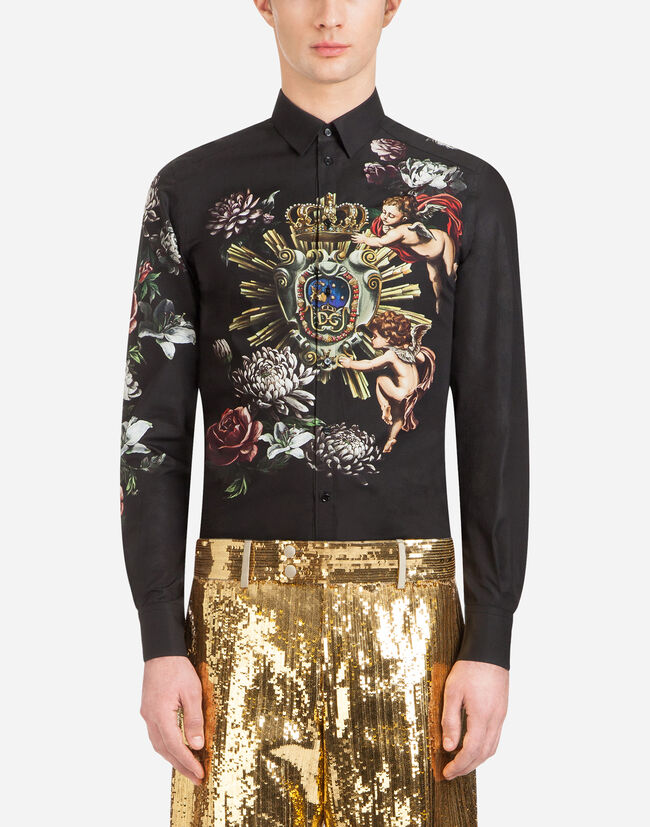 Dolce&Gabbana MARTINI-FIT SHIRT IN PRINTED COTTON