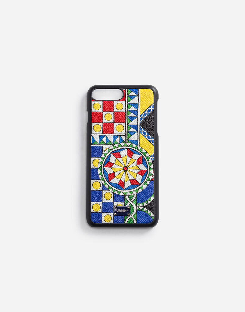 IPHONE 7/8 PLUS COVER WITH PRINTED DAUPHINE CALFSKIN DETAIL