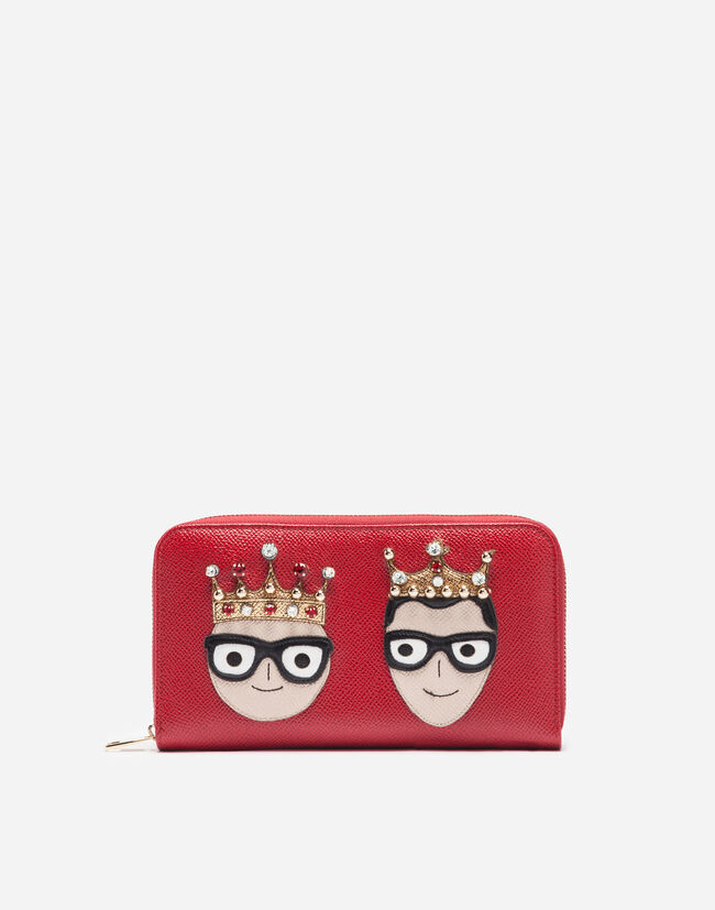 Dolce&Gabbana ZIP-AROUND LEATHER WALLET WITH PATCHES OF THE DESIGNERS