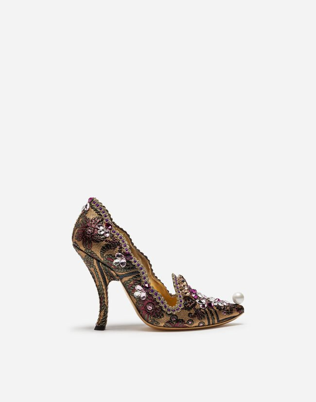 JAQUARD PUMPS WITH EMBROIDERY