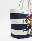 BEATRICE BAG IN PRINTED CANVAS WITH PATCHES OF THE DESIGNERS