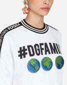 SWEATSHIRT IN #DGFAMILY PRINTED COTTON AND PATCH