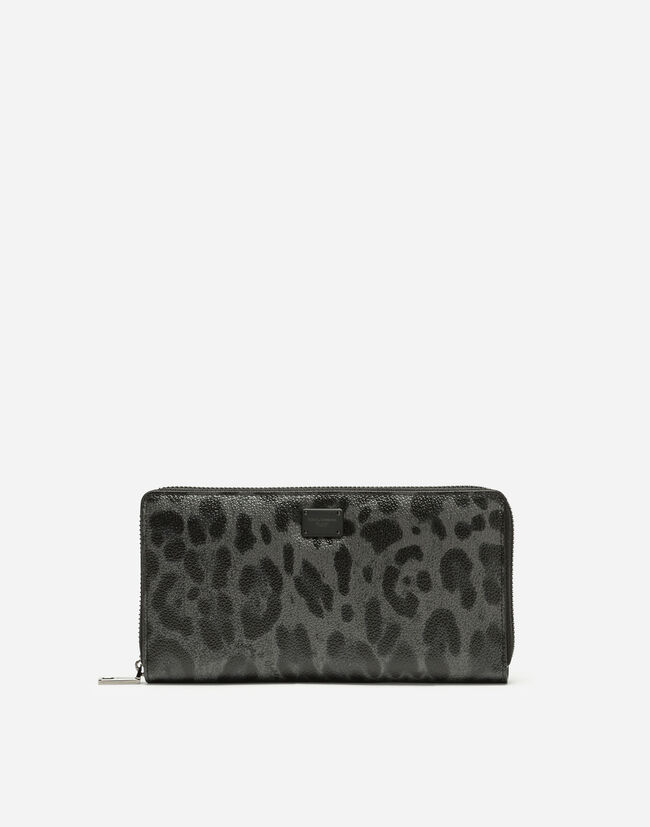 LEOPARD CREPE ZIP-AROUND WALLET