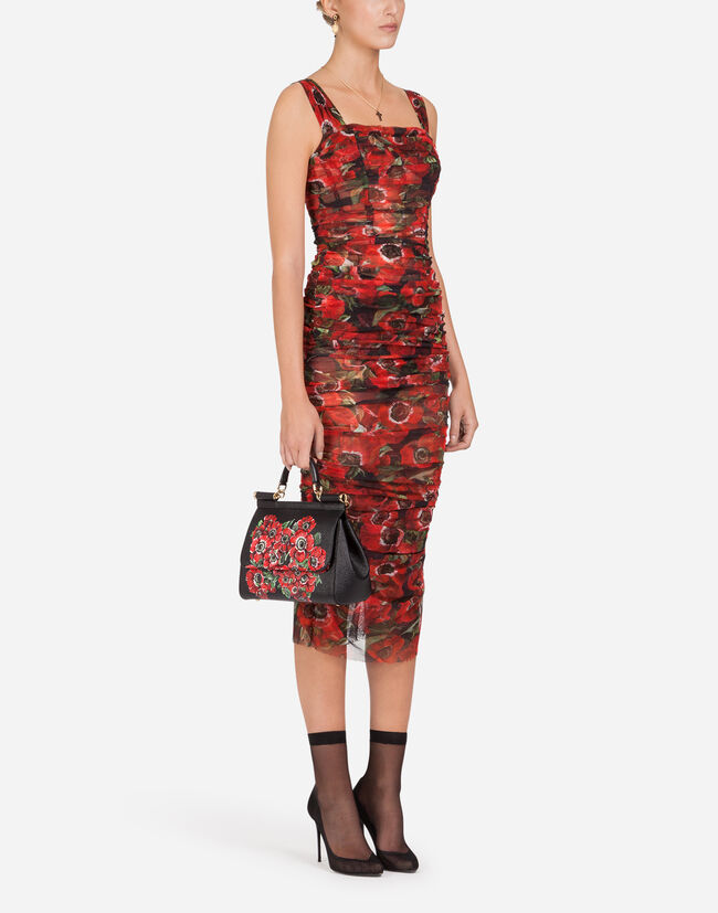6e010b47f7d0 Women's Dresses | Dolce&Gabbana - FORM-FITTING TULLE DRESS WITH ANEMONE  PRINT