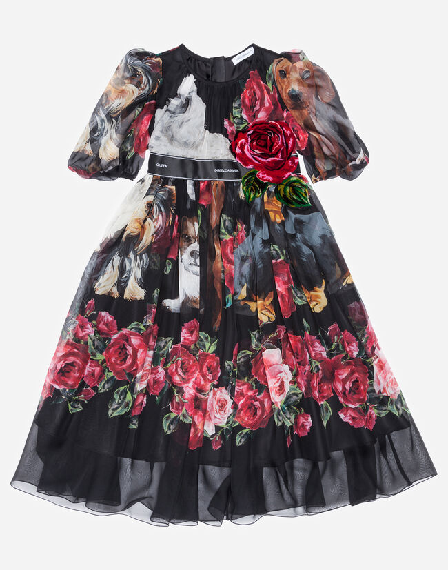 PRINTED SILK DRESS WITH EMBROIDERY