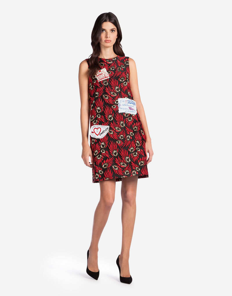 A-LINE DRESS IN LUREX JACQUARD WITH PATCHES