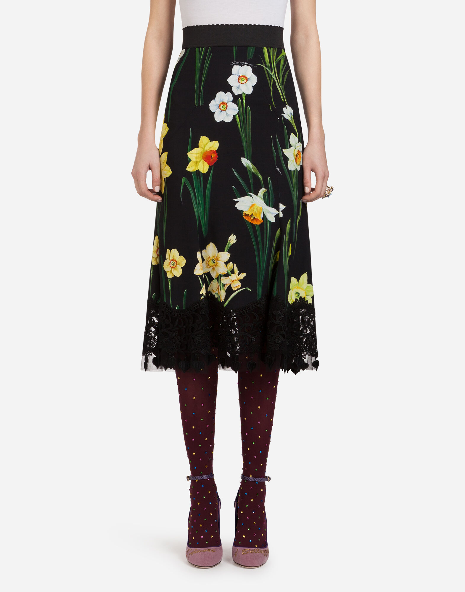Daffodil-Print Cady Midi Skirt in Black
