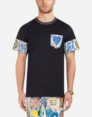 COTTON T-SHIRT WITH CONTRASTING PRINTS