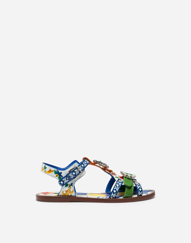 PRINTED PATENT LEATHER SANDALS WITH BEJEWELED BUCKLES