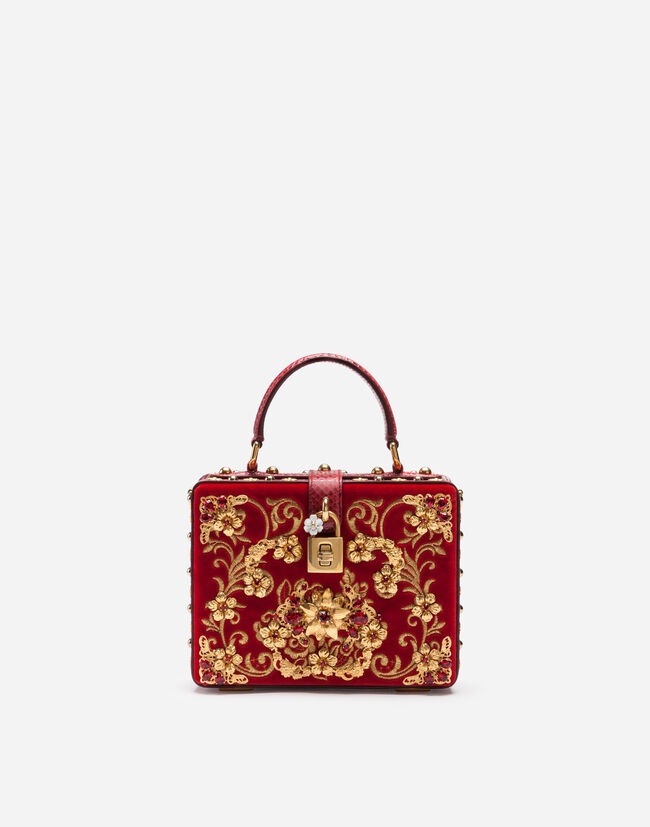 Dolce&Gabbana VELVET DOLCE BOX BAG WITH EMBROIDERY AND APPLIQUÉS