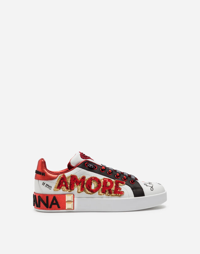 PORTOFINO SNEAKERS IN PRINTED NAPPA CALFSKIN WITH PATCH AND APPLICATIONS