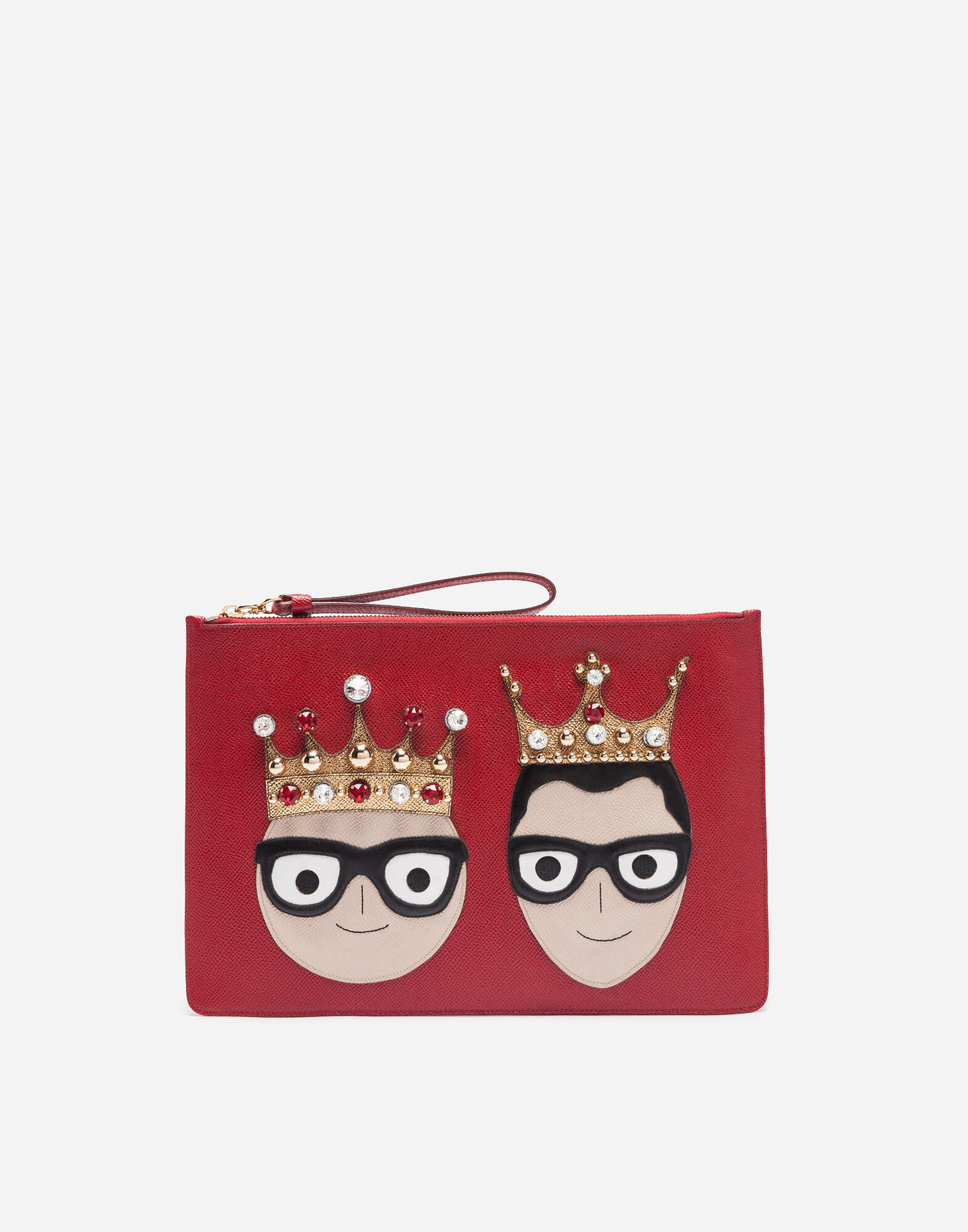 Leather Pouch With Patches Of The Designers in Red