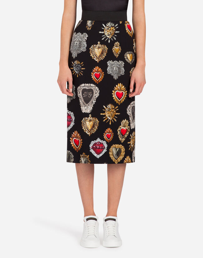 PENCIL SKIRT IN PRINTED CADY
