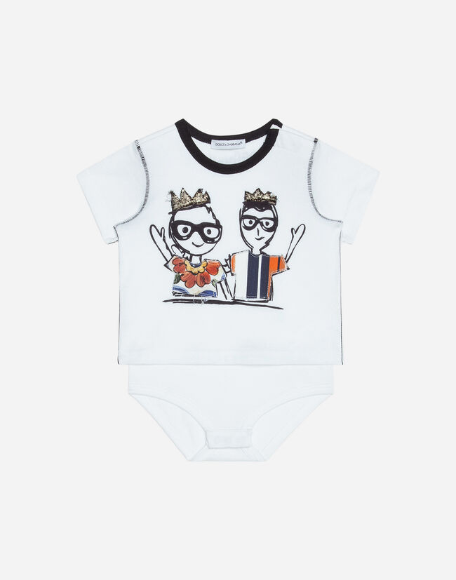 PRINTED COTTON BABYGROW WITH PATCH