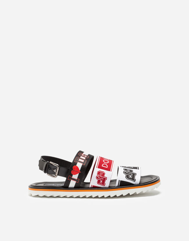 SANDALS IN SHINY CALFSKIN WITH LOGO ON TRIPLE STRAP