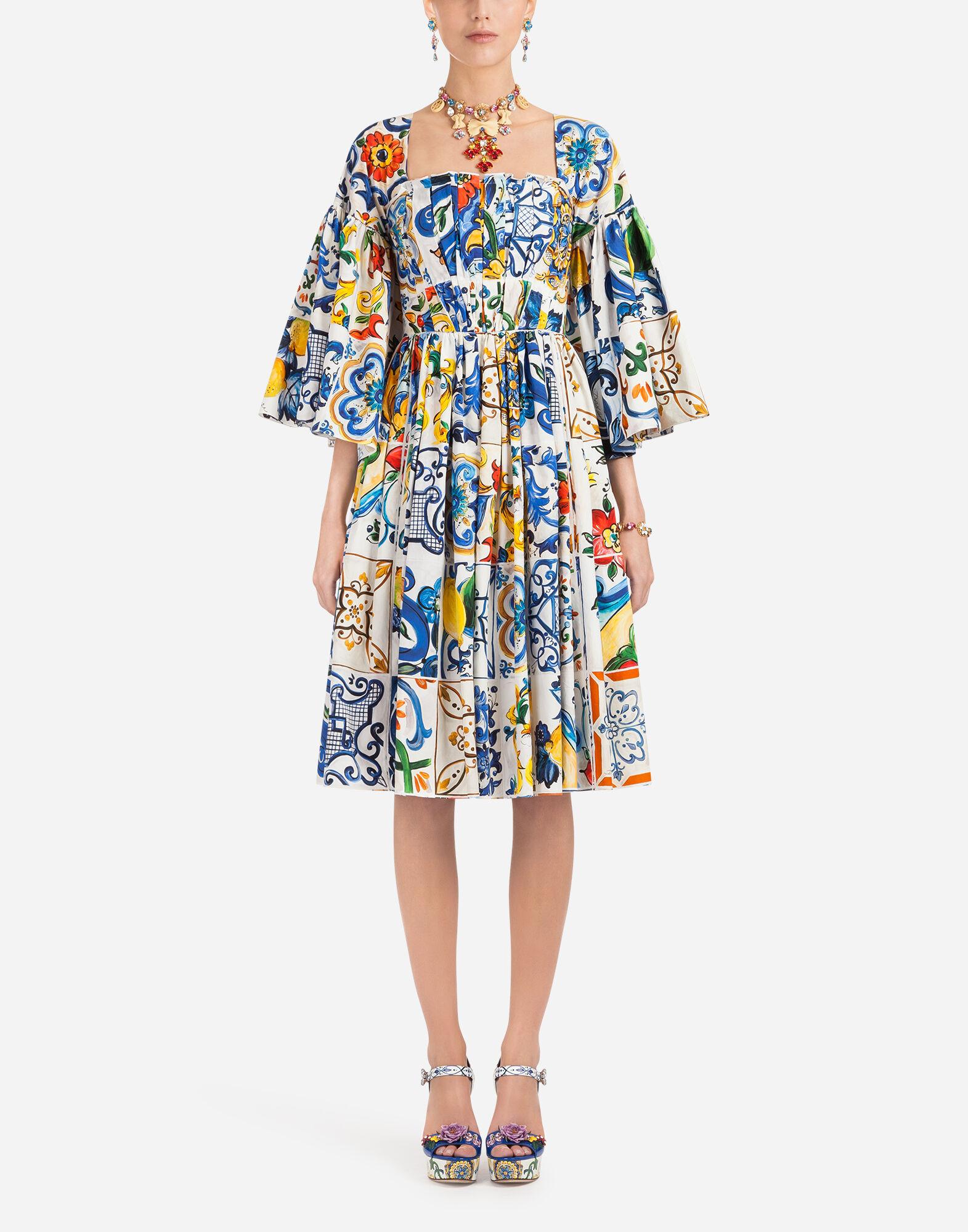 MAJOLICA-PRINT COTTON DRESS