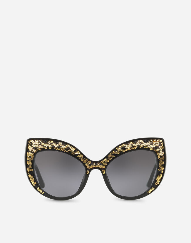 CAT EYE SUNGLASSES WITH SEQUINED DETAILING
