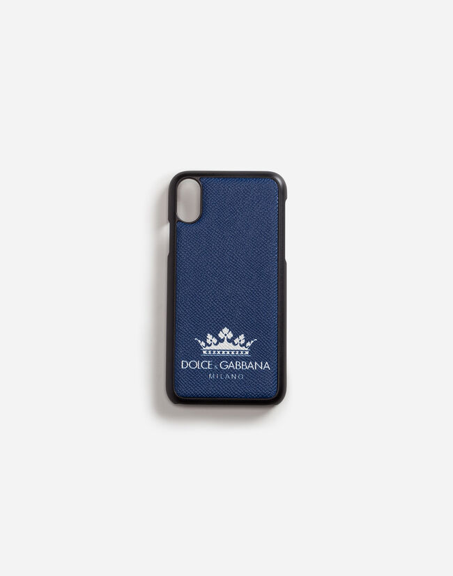 Dolce & Gabbana IPHONE X COVER WITH PRINTED DAUPHINE CALFSKIN DETAIL