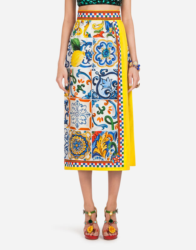 MAJOLICA-PRINT COTTON SKIRT