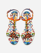 SANDAL IN PRINTED PATENT LEATHER WITH EMBROIDERY