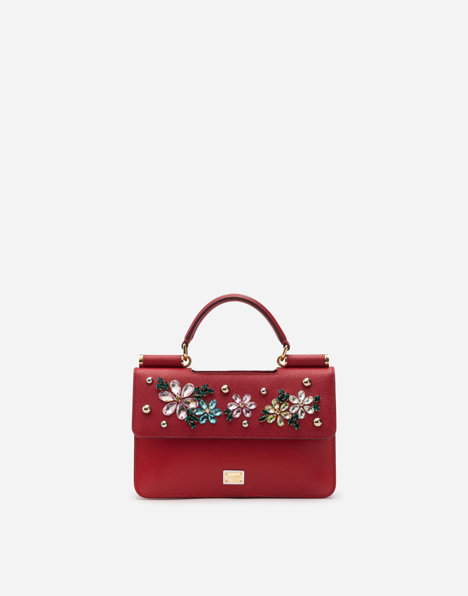 Sicily Mini Bag In Dauphine Calfskin With Embroidery in Red