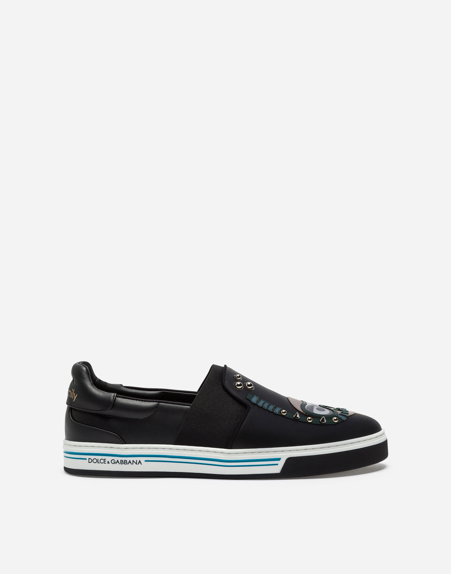 CALFSKIN NAPPA ROMA SLIP-ON SNEAKERS WITH DIVER-STYLE PATCHES OF THE DESIGNERS from DOLCE & GABBANA