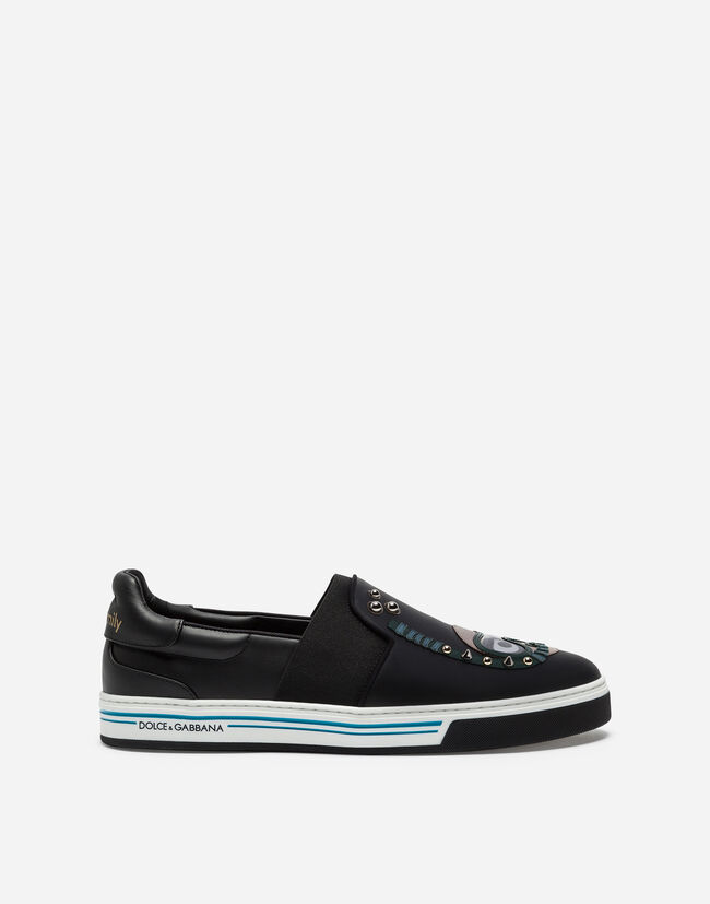 Dolce&Gabbana CALFSKIN NAPPA ROMA SLIP-ON SNEAKERS WITH DIVER-STYLE PATCHES OF THE DESIGNERS