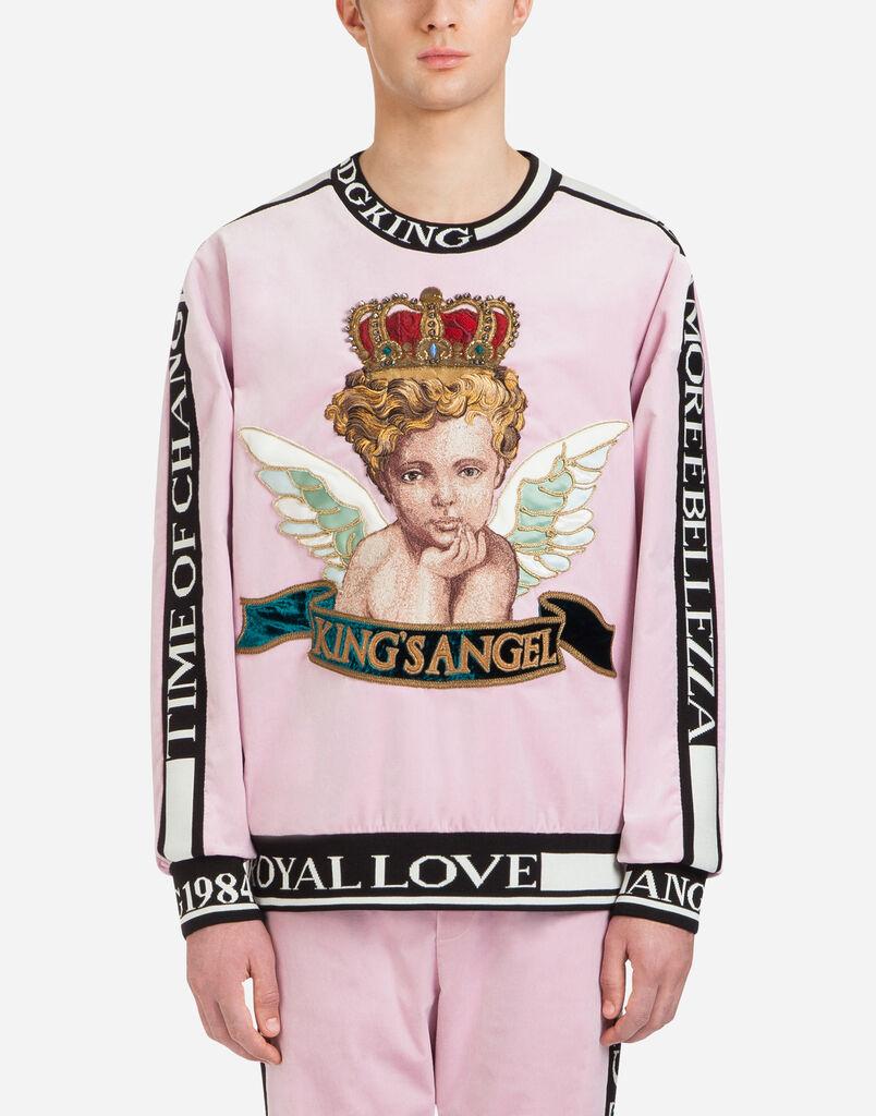 Dolce&Gabbana VELVET SWEATSHIRT WITH PATCH