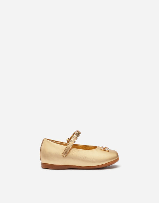 Dolce & Gabbana FIRST STEPS MARY JANE BALLET FLATS IN LAMINATE NAPPA LEATHER