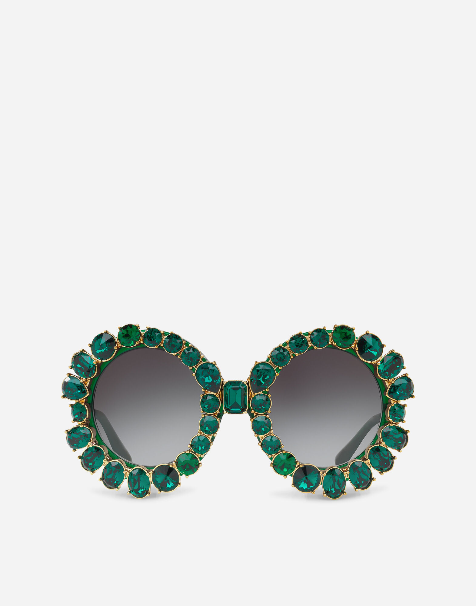 Round Sunglasses With Colorful Crystals in Green