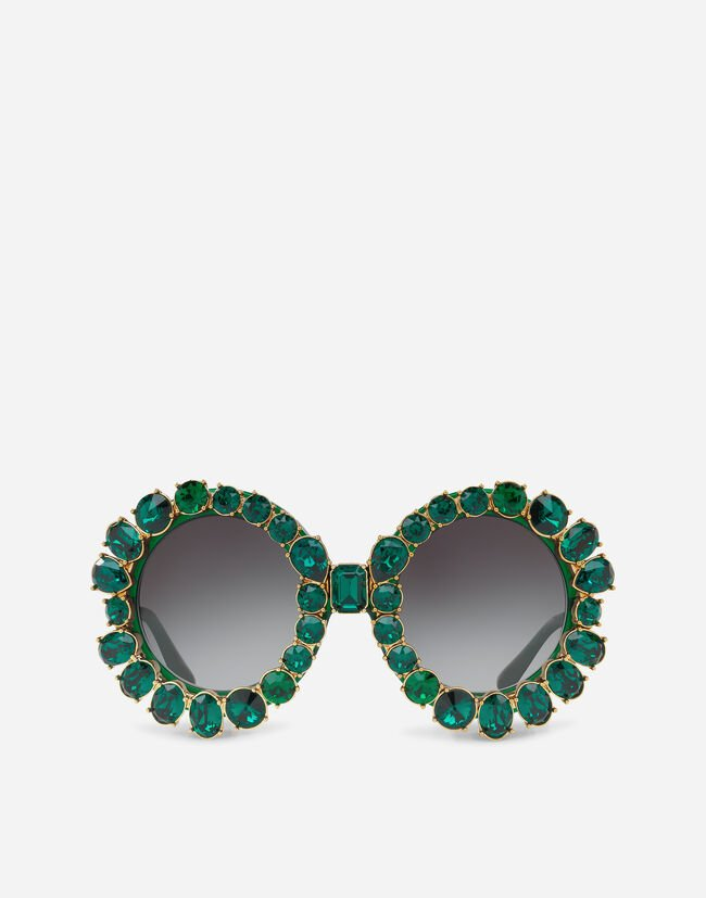 Dolce & Gabbana ROUND SUNGLASSES WITH COLORFUL CRYSTALS