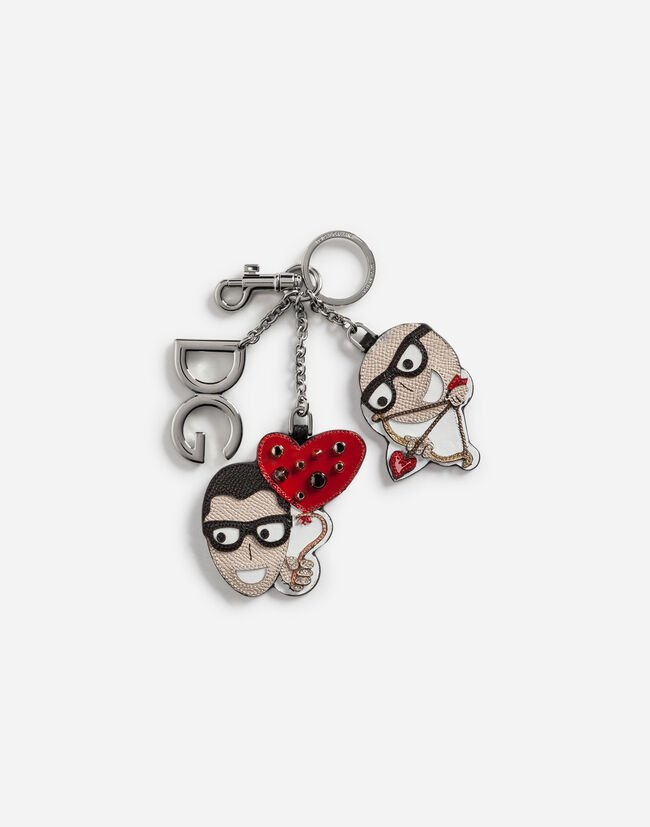 Dolce&Gabbana DAUPHINE CALFSKIN KEYCHAIN WITH CUPID-STYLE PATCHES OF THE DESIGNERS