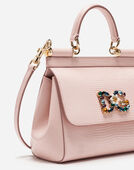 Dolce & Gabbana SMALL CALFSKIN SICILY BAG WITH IGUANA-PRINT AND DG CRYSTAL LOGO PATCH