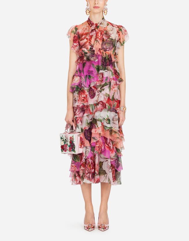 PEONY PRINT DRESS IN SILK