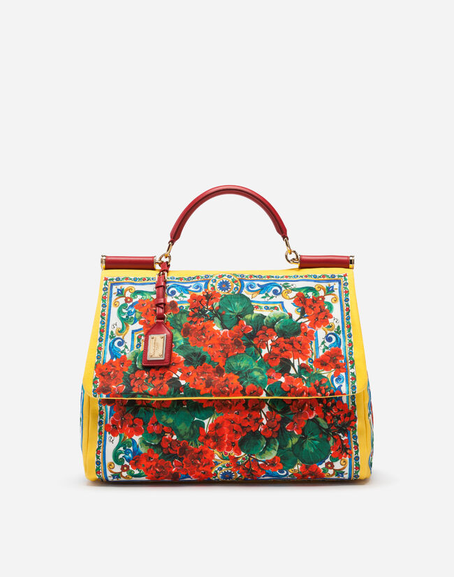 Dolce & Gabbana SICILY SOFT BAG IN PRINTED CANVAS WITH CALFSKIN TRIM