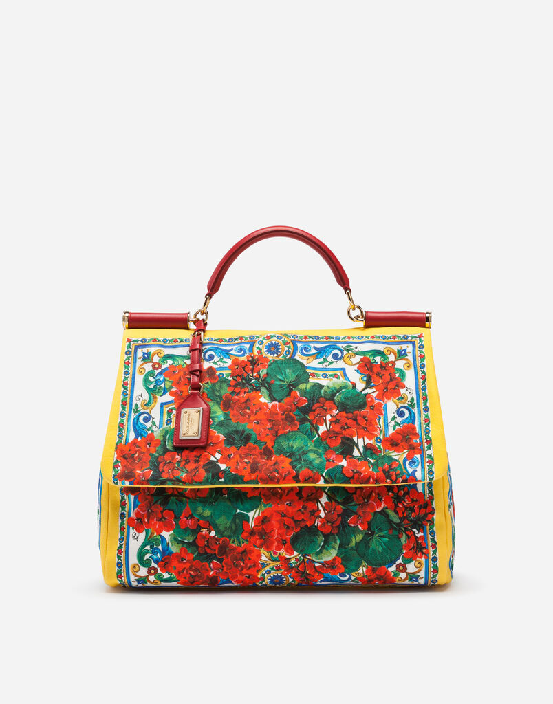 Dolce Gabbana Sicily Soft Bag In Printed Canvas With Calfskin Trim