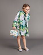 A-LINE DRESS IN PRINTED BROCADE