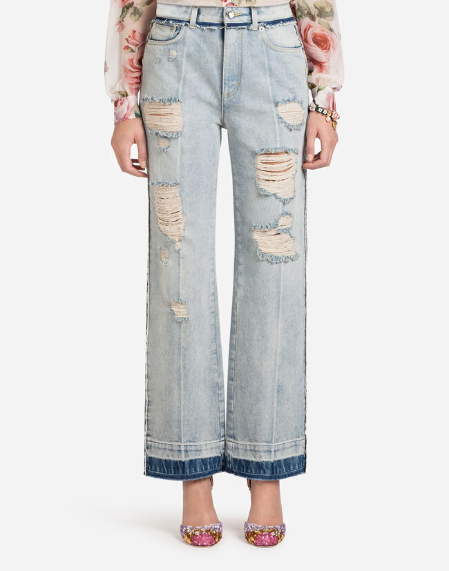 HIGH-WAISTED DENIM JEANS WITH PATCH LABELS