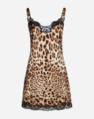SILK LINGERIE DRESS IN LEOPARD PRINT