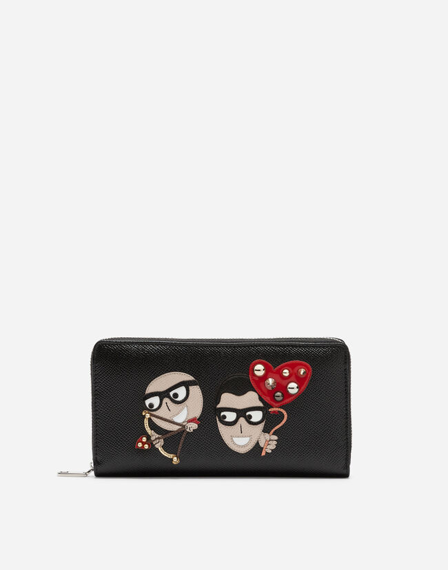 ZIP-AROUND DAUPHINE CALFSKIN WALLET WITH PATCHES OF THE DESIGNERS