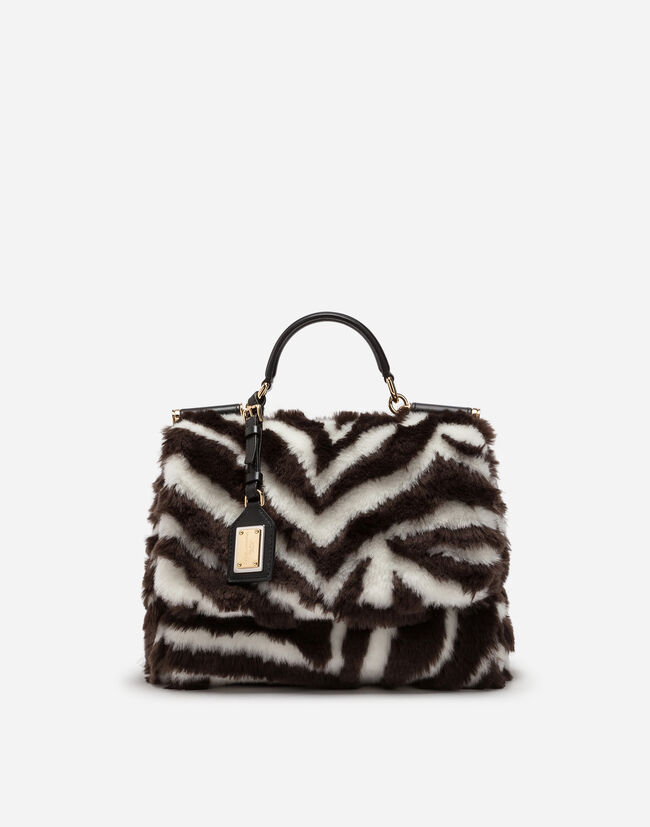 Dolce&Gabbana SICILY SOFT BAG IN ZEBRA FAUX FUR
