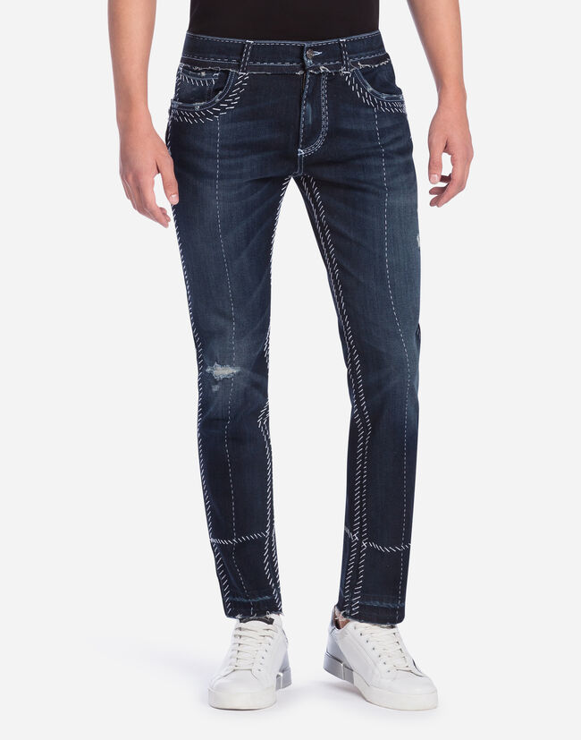 CLASSIC FIT JEANS WITH SARTORIAL TOPSTITCHING