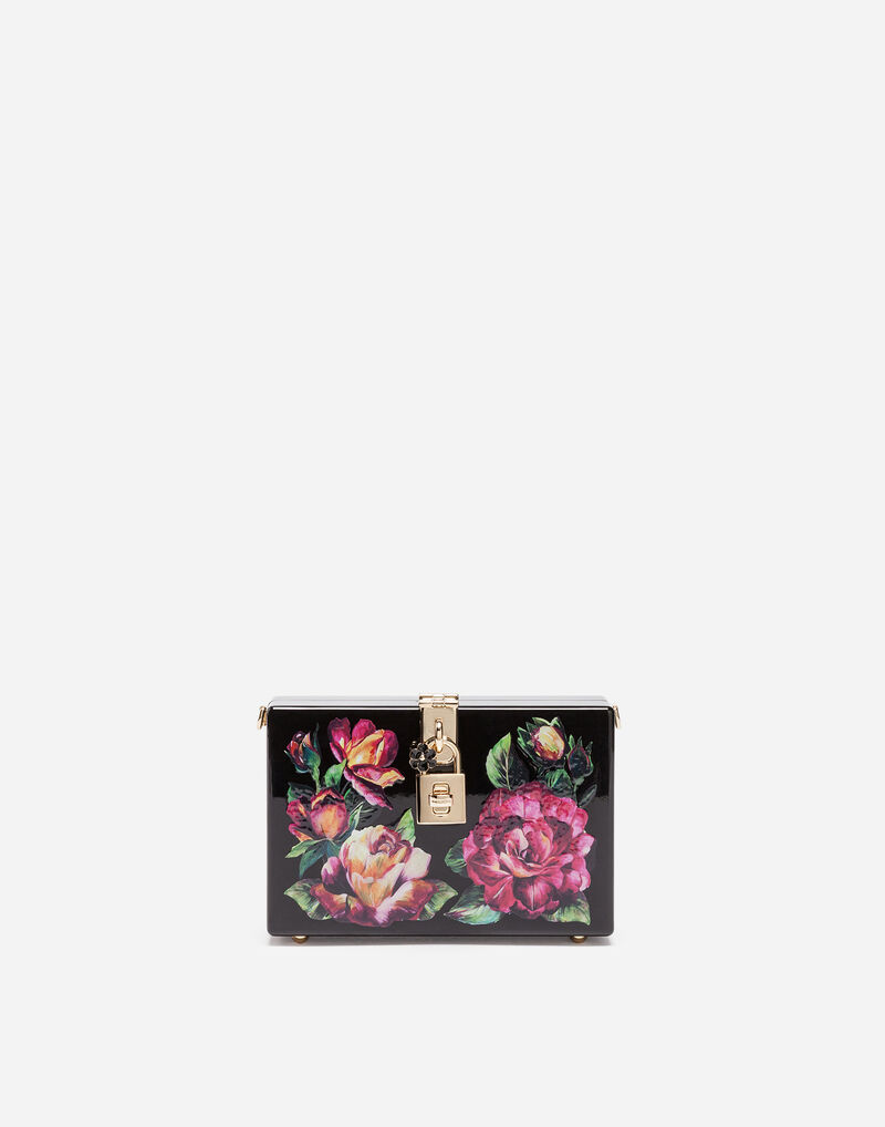 DOLCE BOX CLUTCH IN PRINTED WOOD