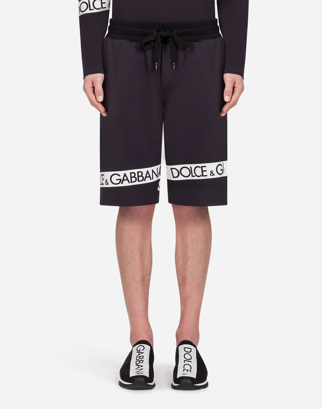 Dolce&Gabbana COTTON BERMUDA JOGGING SHORTS WITH PRINT