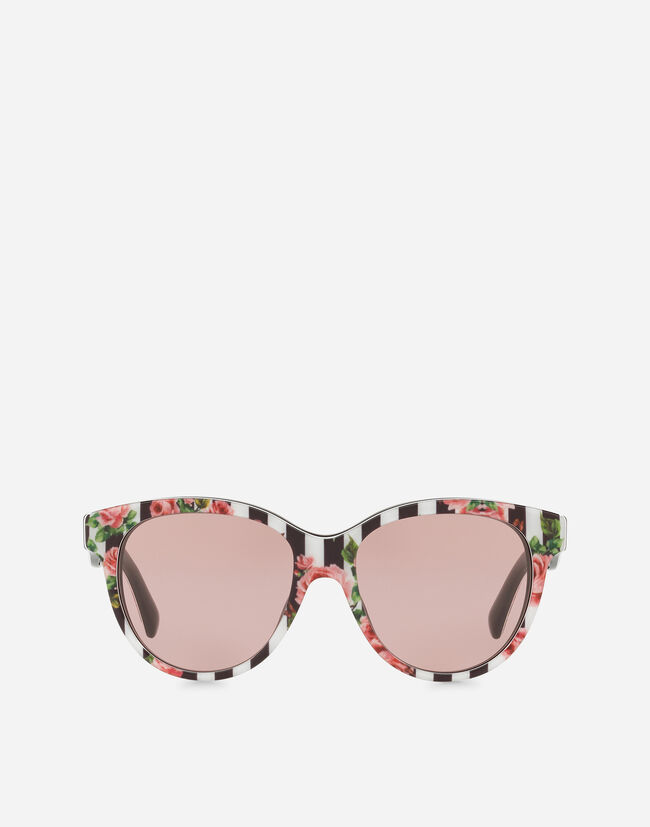 BUTTERFLY SUNGLASSES IN ACETATE WITH STRIPE AND ROSE PRINT