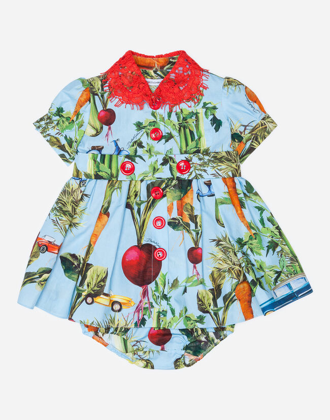 PRINTED COTTON DRESS WITH COLLAR